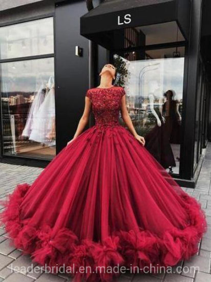 Chine Boule rouge robes dentelle perlée prom
