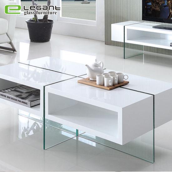 Tavolino da salotto bianco di legno di vetro del cassetto del MDF di  lucentezza del salone alto