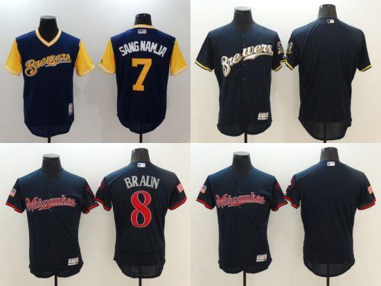super popular 224cd b96c4 Liga Nacional 7 Cerveceros de Milwaukee Cool de béisbol de la base de  camisetas