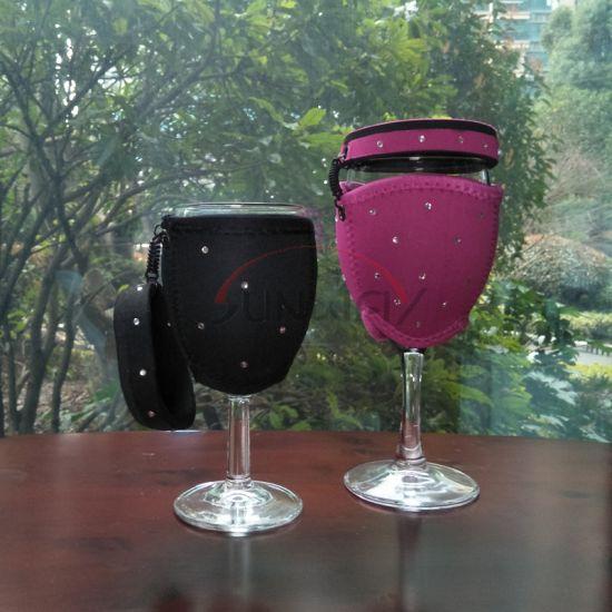Commerce de gros de promotion de verres à vin de Champagne en néoprène personnalisé avec couvercle du refroidisseur (BC0045)