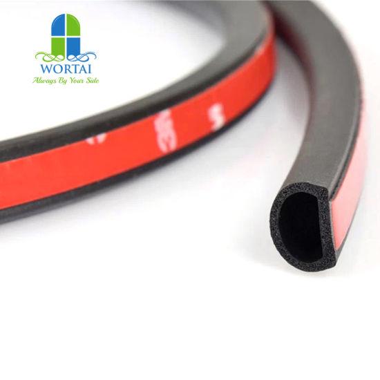 color negro hueco Burlete para puerta con forma de D