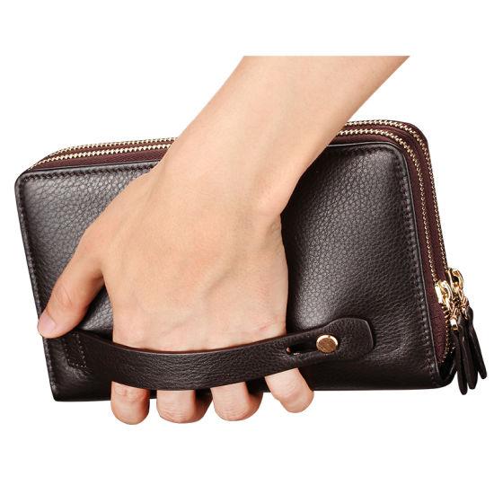 Hommes Portefeuille Cuir Véritable Business Portefeuille Pièces Pocket Zipper Sac à main