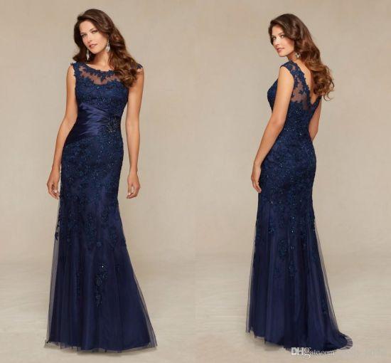 hot sale online c2d36 f2602 Vestiti da sera lunghi dell'abito di promenade del vestito da partito del  merletto dell'azzurro di blu marino B20158