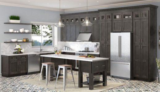 Chine Tous les bois Shaker armoires de cuisine gris ...