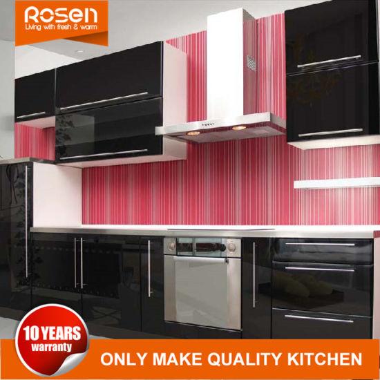 Negro de estilo moderno de diseño online pintura Laca gabinetes de cocina