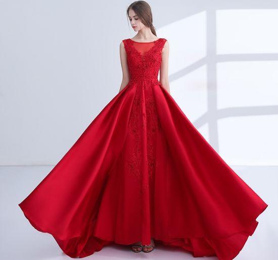 super popular 7054d bfd9d Vestito rosso A - riga vestiti da sera del partito del merletto B46 dalla  damigella d'onore della madre