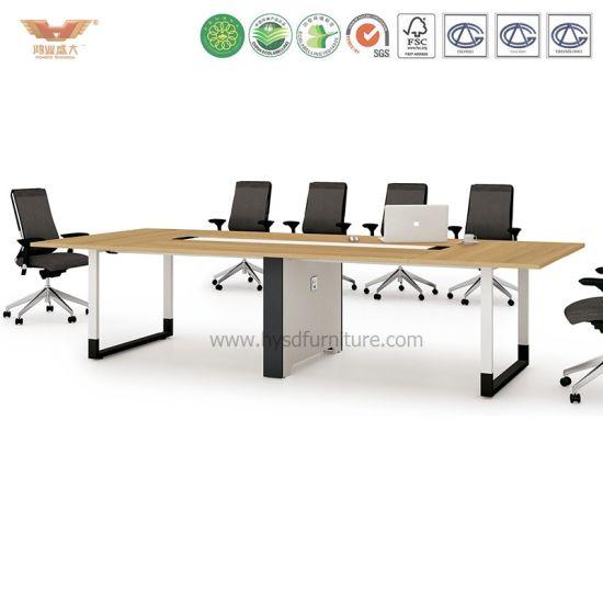 Sala de reuniones de negociación de mesa de juntas de madera para oficina  (H90-0302)