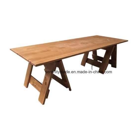 Mesas Plegables De Madera Para Comedor.China Caballete De Estilo Vintage De Madera Plegable Mesa De
