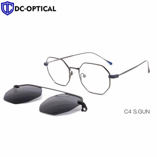 Clip sur lunettes de soleil polarisées ultraléger Hommes Femmes Cadres de lunettes de lunettes de métal magnétique verres optiques Frame
