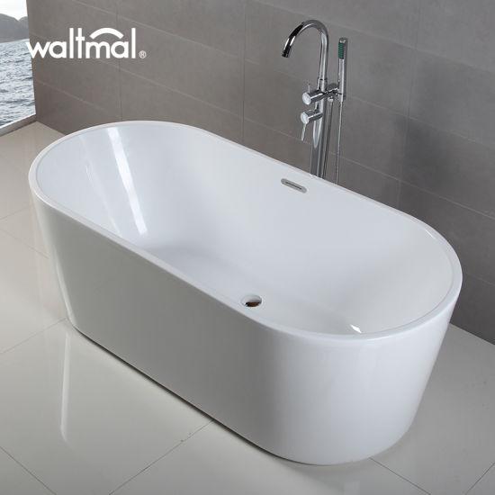 Vasca da bagno stretta ovale d\'inzuppamento acrilica ovale dell\'orlo della  vasca da bagno prezzi poco costosi caldi di vendita di nuovi