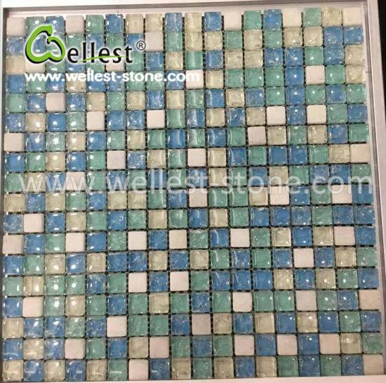Chine Lumière bleue cristal mosaïque de verre pour salle de ...