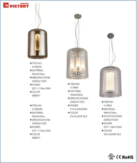 Chambre moderne Smoky pendentif en verre la pendaison de luminaires décoratifs