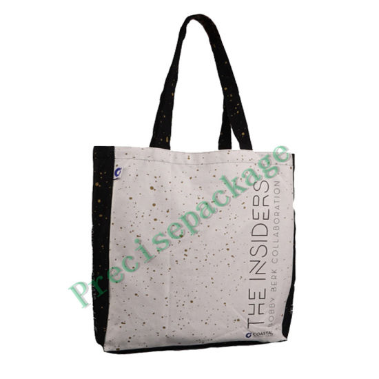 Couleur bon marché Le marché noir du sac de coton avec logo