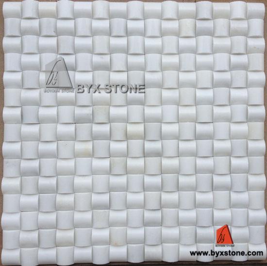 Mosaico di pietra bianco della parete del marmo della giada e delle  mattonelle della cucina