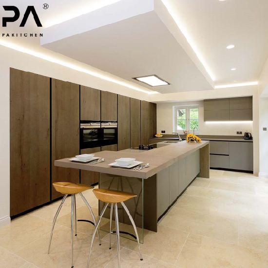 Cocina Factory Outlet descontinuado Precio Nuevo modelo de diseño italiano  de lujo rta de importación de madera armario de cocina modular de PVC