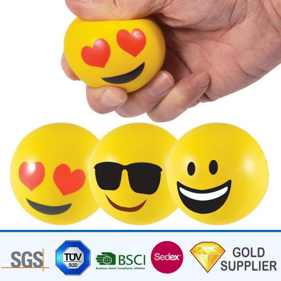 Chine Qualite Garantie Logo Personnalise Imprimer Mousse De Pu Bouncy Renforcement Solide Ensemble De 3 Resistance De La Memoire De Smiley Sculpture Emoji Grip Antistress Pu Souligner La Bille De Remise En