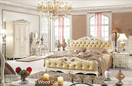 Français anciens Chambre King Size en bois jeu (HF-MG023)