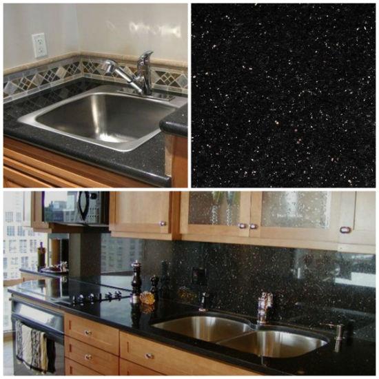 gabinetes de cocina de laminado marrón China Galaxy Negro Pulido Prefabricados Menor Colores