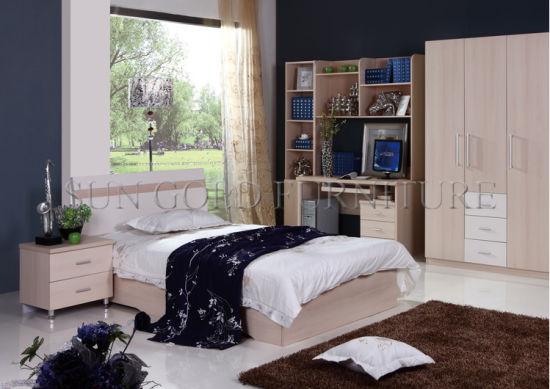 Insiemi a buon mercato usati di legno della mobilia della camera da letto  della base dell\'albergo di lusso (SZ-BT001)