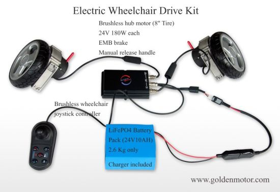 Kit Di Conversione Per Sedia A Rotelle Elettrica Da 8, 10, 12 Pollici, Motore Per Disabili Brushless, Controller, Batteria