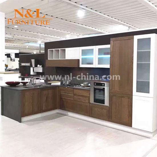 Lujo elegante armario hogar modernos de madera Muebles de Cocina