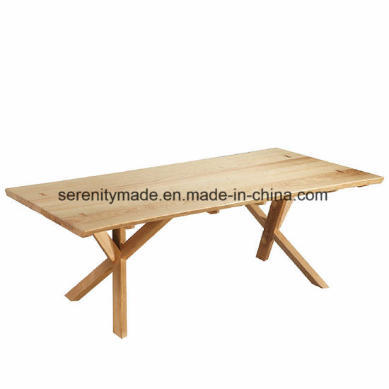 China Natual de muebles de comedor madera maciza mesa de ...