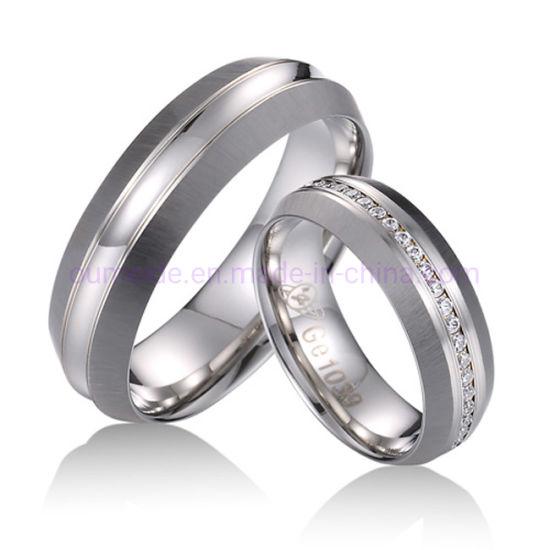 comparar el precio paquete de moda y atractivo zapatos de otoño Pareja de tungsteno brillante de dos tonos del anillo anillos de joyería