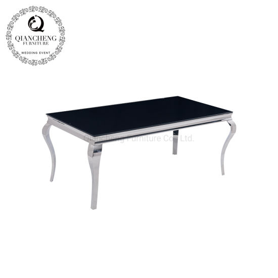 China Hot vender mesa de comedor Cristal negro Top Hotel la ...
