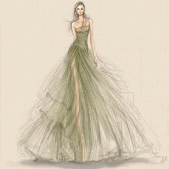 China Desenho De Projeto Manuscrito Sketch Vestido De Noiva Sonho