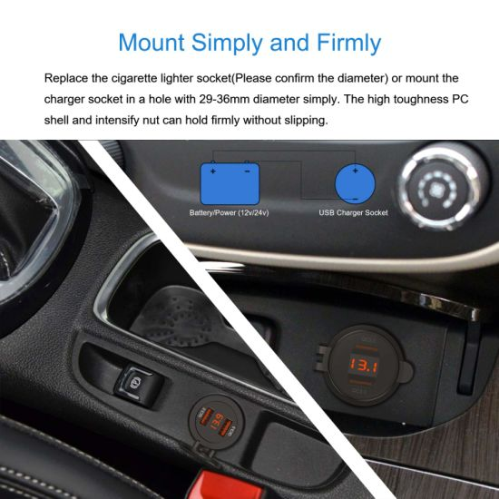 12V-24V 2.1A Puerto USB Doble Adaptador de Corriente Adaptador de Corriente para Producido para Despu/és de 2013 Puerto USB para Autom/óvil