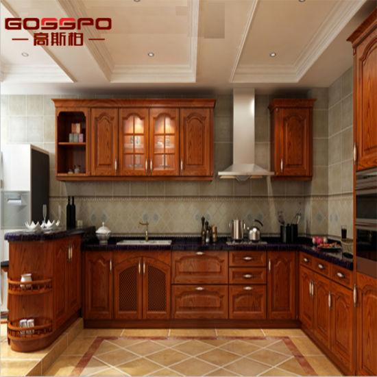 Armadio da cucina di legno del teck americano della villa (GSP9-001)
