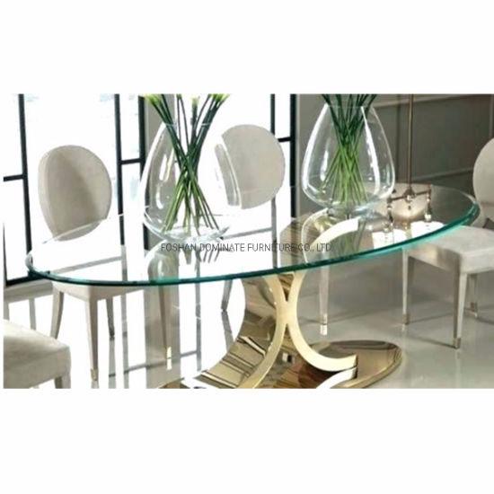 China Muebles de Comedor moderno mayorista Cristal ovalado ...