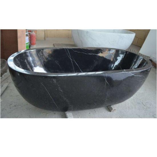 Schwarze Marmorgarten-Steinwanne-kleine Badewanne für Dusche-Gehäuse