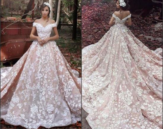 online retailer 5af78 e587e Schutzkappe Sleeves Brautkleid-Luxuxblumen-Rosa-arabische Hochzeits-Kleider  S201757