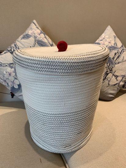 Cesta de almacenamiento de punto tejidos a mano artesanal tejido Ropa Organizador de hilo de algodón S