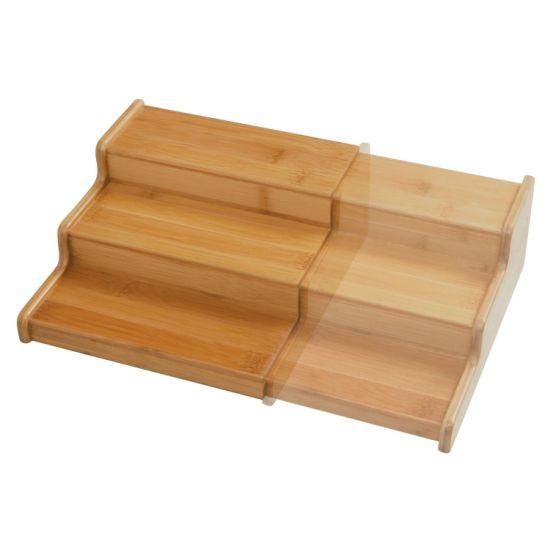 Extensible bambou Spice Rack étape Étagère Armoire Rangement 3 étages kit pour