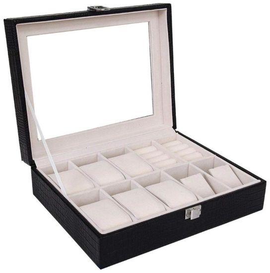 Multi fente classique de luxe hommes noirs Watch Gift Set