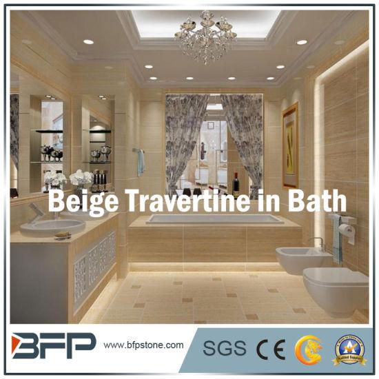 Chine Salle de bains beige travertin entourant la Décoration ...