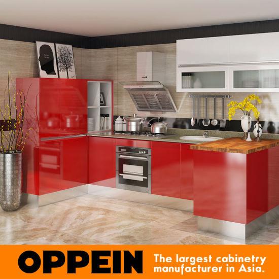Oppein besten Grand Moderne rote Lack-Küche-Möbel (OP15-L04)
