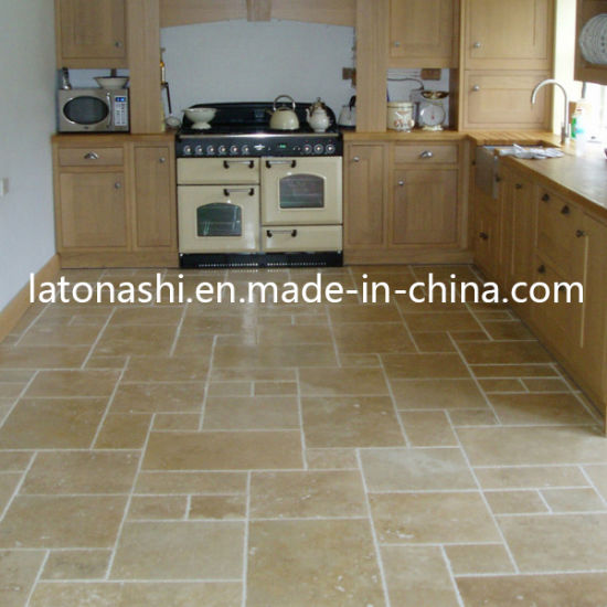 Pavimento In Travertino Beige Naturale Lucido Per Pavimenti Decorativi Da  Cucina