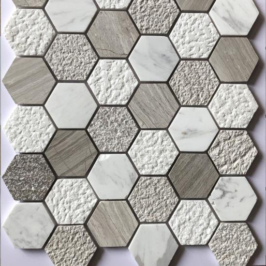 Mattonelle di mosaico di pietra di marmo grige bianche di esagono per la  cucina Backsplash
