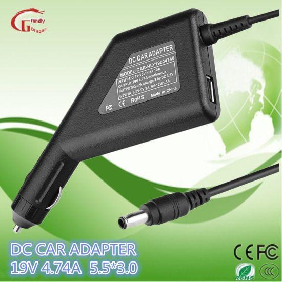 SamsungHPAcer et AsusDeltadelllsSonygatewayIBM 19V 4.74Un chargeurs de voiture Voiture d'alimentation