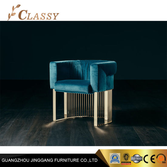 Nuevo diseño de terciopelo verde silla moderna de Muebles de Comedor