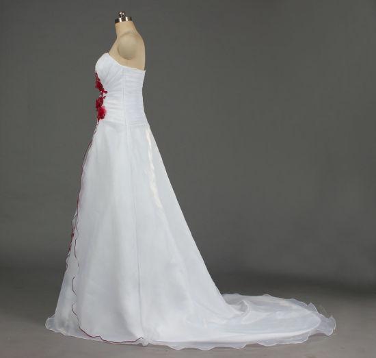elegante en estilo promoción buscar Un hombro rojo y blanco una línea de novia vestido de novia con apliques de  encaje