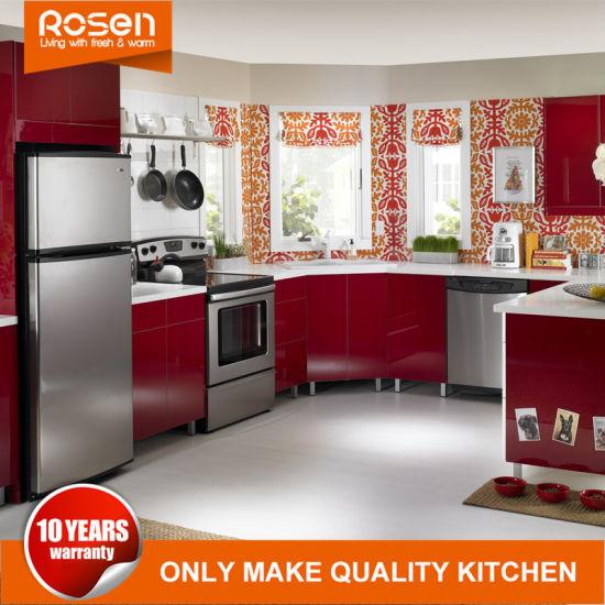 Acero inoxidable de color rojo de plomo del Gabinete para la venta de  muebles de cocina