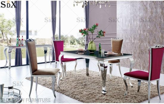 Chine Verre en acier inoxydable moderne Table à manger ...