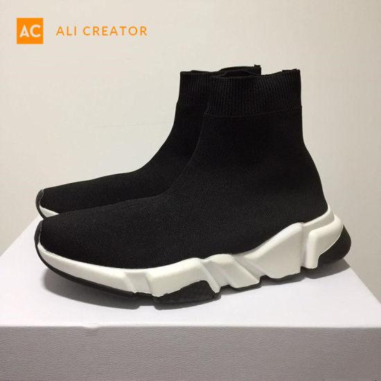 China Marca de lujo Calcetín blanco y negro Zapatos Casual