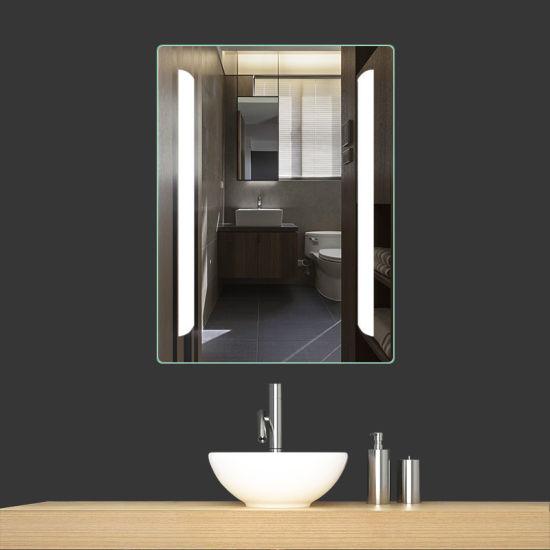 DEL Armoire à miroir éclairage Bluetooth Radio Température Horloge Salle De Bains WC écran Tactile
