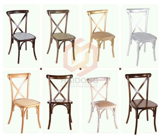 Chine Croix de bois solide retour chaise empilable de ...