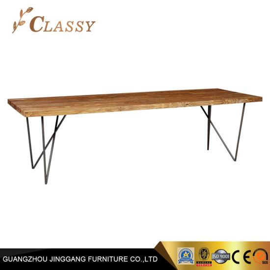 China Tamaño grande de madera maciza mesa de comedor con ...